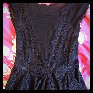 Free People formal sheer black ruffle dress